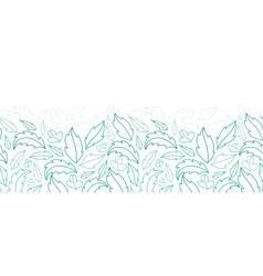 Leaves lineart horizontal seamless pattern vector