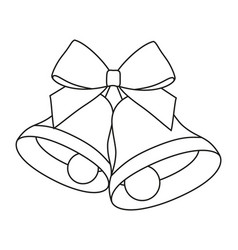 Line art black and white two bells with ribbon bow vector