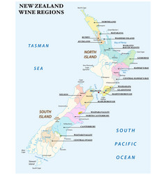 Map with the most important wine regions of new vector