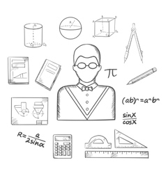 Mathematician or teacher sketch with objects vector