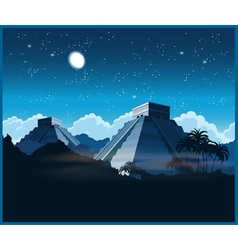 Mayan pyramids at night vector