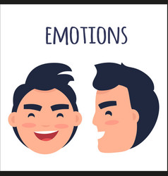 men positive emotions flat concept vector image