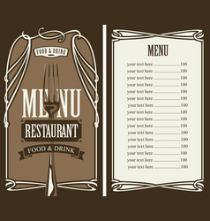 menu for restaurant with price list and fork vector image