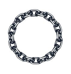metal chain icon circle silhouette vector image
