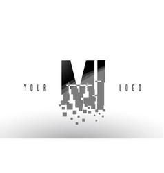 Mi m i pixel letter logo with digital shattered vector