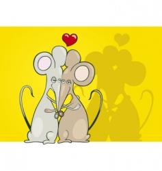 Mice in love vector