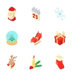 New year icons set cartoon style vector image