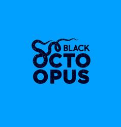 Octopus label seafood design tentacles vector