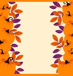 orange pumpkins on peach light border background vector image