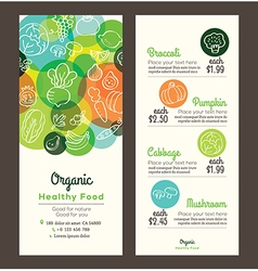 Organic healthy food template for menu flyer vector image