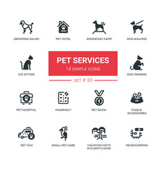 Pet services - modern simple thin line design vector