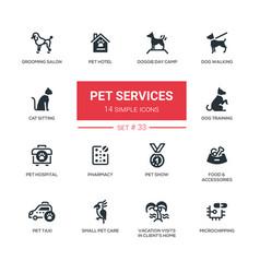 Pet services - modern simple thin line design vector