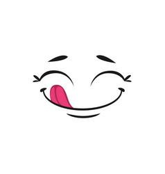 pleased yummy emoji isolated smiley emoticon icon vector image