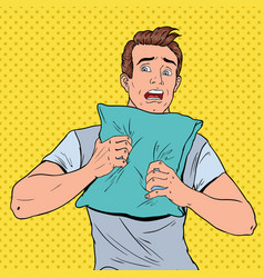 pop art shoked man hiding on pillow vector image