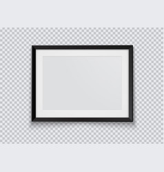 realistic horizontal black photo frame isolated on vector image