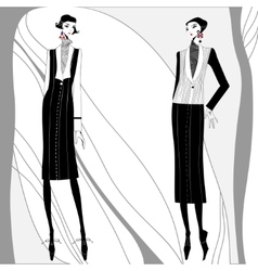 Romantic art deco women in coats vector