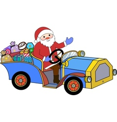 Santa Claus and retro car vector