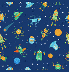 Seamless space robots pattern cute robot in space vector