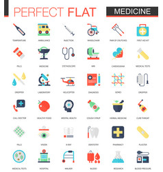 set of flat medical and healthcare icons vector image
