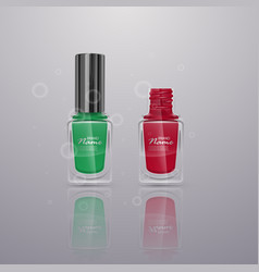 Set of realistic nail polishes of bright colors vector