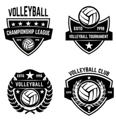 Set of volleyball sport emblems design element vector