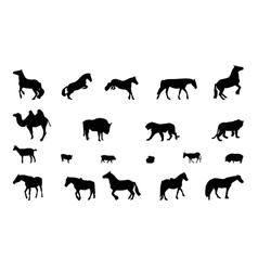 Silhouette wild and domestic animals black vector