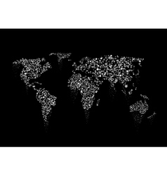 Silver sparkles World map vector image