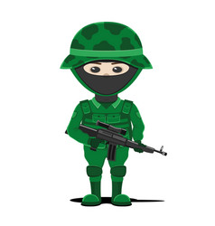 Soldier in green uniform vector