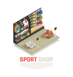 sport shop isometric composition vector image