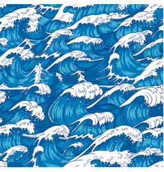Storm waves seamless pattern raging ocean water vector