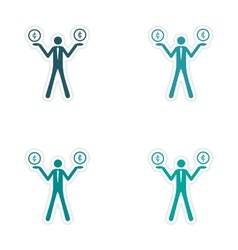 Stylish assembly sticker on paper people vector