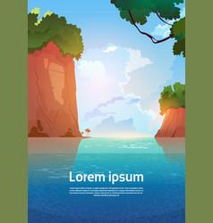 Summer sea landscape mountain rocks blue water vector