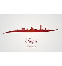 Taipei skyline in red vector