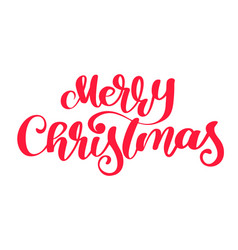 text merry christmas hand written calligraphy vector image