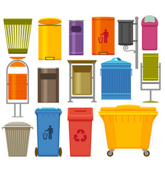 trash containers colorful icons set vector image