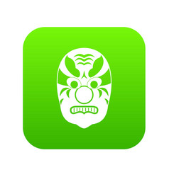 tribal mask icon digital green vector image