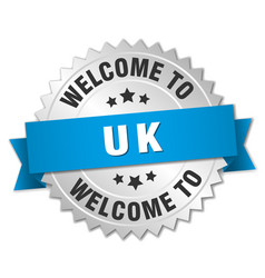 Uk 3d silver badge with blue ribbon vector