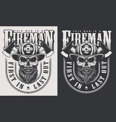 vintage firefighter emblems vector image