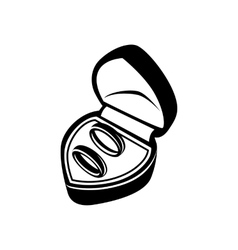 Wedding rings in box simple icon vector image