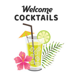 welcome cocktails glass of cocktail background vec vector image