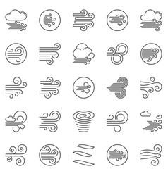 wind outline icons set breeze concept line vector image
