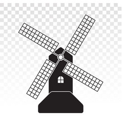 Windmill wind turbine flat icon for apps vector
