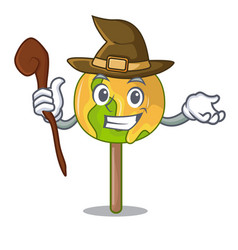 Witch candy apple mascot cartoon vector
