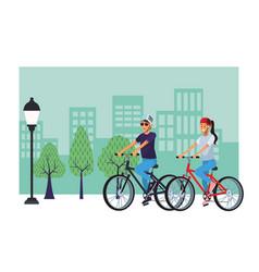 Women in bicicles vector