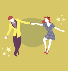 Young couple dancing swing rock or lindy hop vector