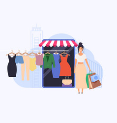 young woman shop online using smartphone flat vector image