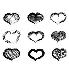 abstract heart icons vector image vector image