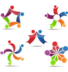 Community network and social icons vector image vector image