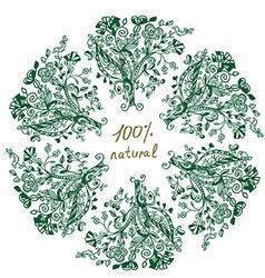 Eco label - floral grafic design vector image vector image