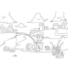 fishingboy line v vector image